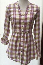 Linen Check Hip Length Tops & Shirts for Women