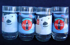 Always Coke Always Cool Polar Bear Coca Cola 16 Ounce Glasses-1995 - Set of 4