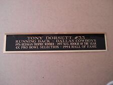 Tony Dorsett Cowboys Nameplate  For A Football Mini Helmet Display Case 1.5 X 6