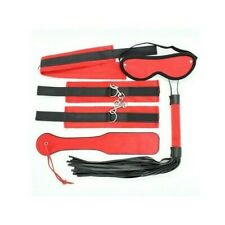 Bondage kit rosso fetish set frusta manette collare maschera sexy