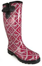 NEW! Ladies Smoky Mountain Boots Western - Rubber - Horse & Horseshoe - Maroon