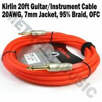 Kirlin 20ft Guitar Instrument Cable Electric Patch Cord 7mm Bass +Free Tie RDF