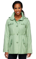 Dennis Basso Water Resistant Floral Lined Anorak Jacket with Hood, Sage, S, $74