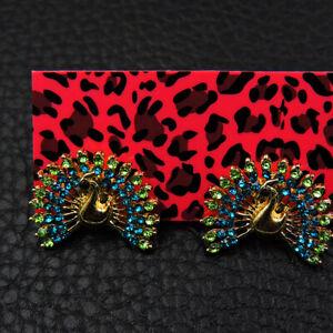 Betsey Johnson Blue/Green Enamel Rhinestone Peacock Women's Ear Stud Earrings