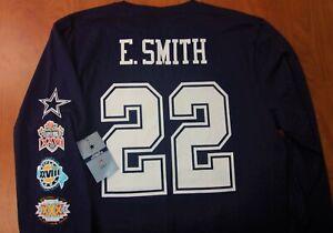 Dallas Cowboys NFL Football Emmitt Smith 3X Super Bowl Authentic Ls Shirt L NWT