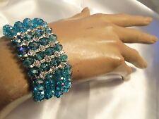 SKY BLUE Aurora Borealis Crystal Silvertone Rhinestone Stretch Bracelet LA15B67