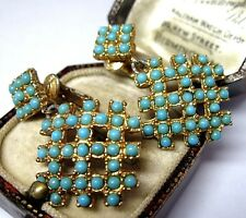 VINTAGE TURQUOISE GLASS MODERNIST MATRIX GOLD TONE JEWELLERY DROP EARRINGS