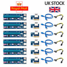 6x Riser Card Adapter Pci-e 1x to 16x Extender Usb3.0 Powered Cable Bitcoin 006c