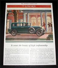 1930 OLD MAGAZINE PRINT AD, LINCOLN LIMOUSINE, THE BEAUTY OF HIGH CRAFTSMANSHIP!