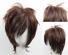 Noble dark brown short women's cosplay wig+hairnet