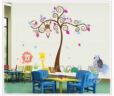 Large Monkey Owl Swirl Tree Wall Decals Removable Sticker Kids Art Nursery Decor