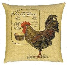 """NEW 18"""" ROOSTER PRIZE MEDAL TAPESTRY CUSHION COVER 4892"""