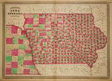 1864 Genuine Antique Hand Colored Map of Iowa & Nebraska. Johnson
