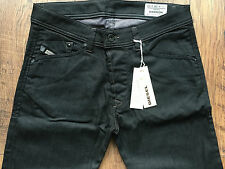 DIESEL DARRON 0064U 64U W28 L30 28x30 NEW SLIM TAPERED MENS JEANS BLACK STRETCH
