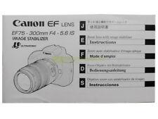 Canon EF 75/300mm. f4-5,6 IS USM instructions English Deutsch Francais Esp.