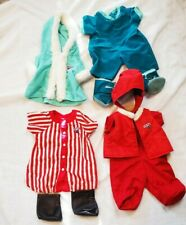 4 Teddy Ruxpin Clothes & Booties And A Pair Of Faux Leather Boots Coats Jammies