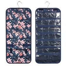Women Jewelry Roll Hanging Tote Bag for Camping Hiking Travel Navy Flowers Print