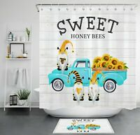 Sweet Honey Bees Shower Curtain Sets Gnome Elf Sunflower Truck Bathroom Decor