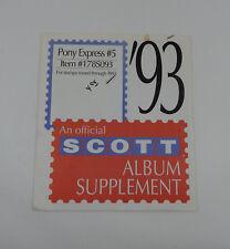 Scott Pony Express #5 1993 Supplement 178S093 Stamp Album Pages