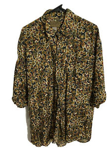 Men's Utopia Tropical 100% Silk Button Up Shirt - Martini Olive Design - Large