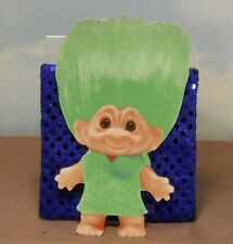 "6"" Girl troll appliqué Troll Doll: green hair/green dress iron-on"