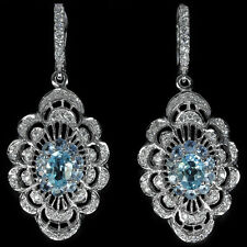 Earrings Genuine Sky Blue Topaz Fancy Drop Design Sterling Silver