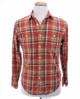 J Crew Sporting Goods Mens Flannel Button Down Up Shirt Plaid Print Red Sz Small