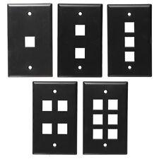 One BLACK Keystone Wall Plate CHOOSE 1,2,3,4, or 6 port (Cat5 Cat6 Audio/Video)