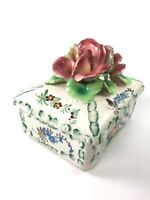 Vintage Ceramic Hand Painted Applied Flowers Trinket Jewelry Box  Made in Italy