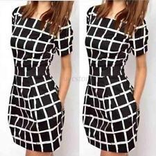 Sexy Women Short Sleeve Slim Bodycon Casual Plaid Pencil Mini Dresses Black U85