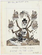 CHARLES KELLER (1914 - 2006) Original Art Cartoon Anti GM General Motors