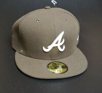 Atlanta Braves Fitted New era 59 50 baseball ball cap Brown w/ white logo 7 7/8
