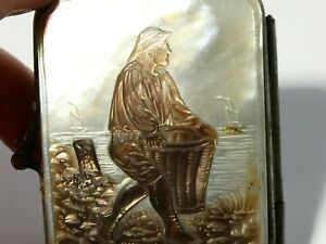 19thC Hand Carved Mother of Pearl Nacre Concertina Coin Purse Fisherman Scene