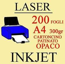 Carta Cartoncino A4 200 Fogli Patinato Opaco 300gr. Stampante Laser Inkjet