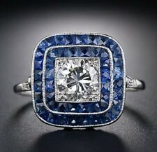 Men's 925 Silver Square Cut Blue White Sapphire Gem Rings Engagement Wedding #8