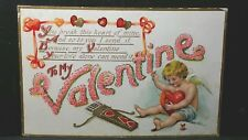 To My Valentine YOU BREAK THIS HEART Vintage Post Card Cupid Sew Heart UNUSED208
