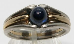 18 Ct SOLID YELLOW GOLD - .950 PLATINUM & SAPPHIRE CABOCHON MENS RING 9.59 grams