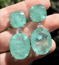 GLOWING NATURAL COLOMBIAN EMERALD DIAMOND DANGLE DROP EARRINGS MAGNIFICENT S 925
