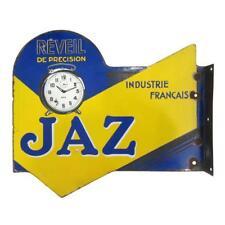 VINTAGE Porcelain JAZ French Clockmaker's TRADE SIGN Double Sided FLANGE 1920s