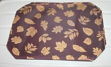 5 Nos Aubergine fabric dark plum purple Placemats gold leaf Reflections