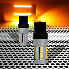 7440NA W21W T20 Premium Amber LED Bulbs for Front/Rear Turn Signal Lights