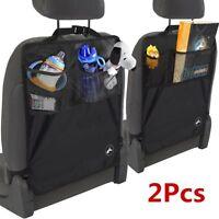 2PC Car Vehicle Seat Back Protector Cover Children Kids Kick Mat Mud Storage Bag