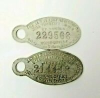 "2 ANTIQUE METAL ""IF FOUND RETURN TO"" KEYCHAIN FOB ID The New Jersey Registry Co."