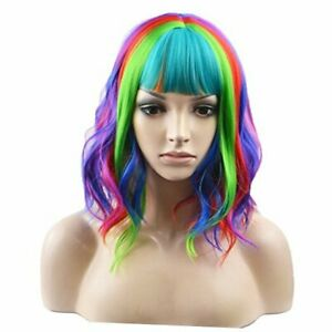 14 Inches Wig Short Curly Wig Women Girl's 14 Inch (Pack of 1) Rainbow