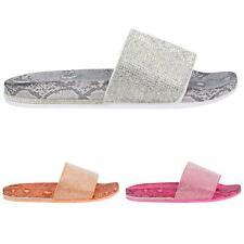 LADIES WOMENS DIAMANTE SLIDER SUMMER FLAT MID HEEL COMFY FLIP FLOP SANDALS SHOES