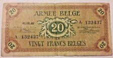 Belgium 20 Franc Belge 1946, Armée Belge Army Belgisch leger Belgïe Type A