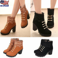 Fashion Women Chunky Heels Ankle Boots Ladies Casual Zipper Round Toe Boot Shoes