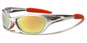 X-Loop Sunglasses Silver Wrap Around Sports Shades Mirrored Lenses UV400