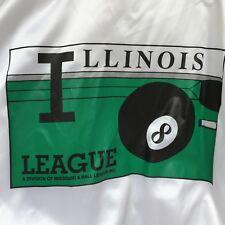 VINTAGE ILLINOIS 8 BALL LEAGUE JACKET WINDBREAKER MADE IN USA LARGE SATIN WHITE