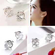 Women's Lovely Crystal Eye Dolphin Cz Stud Earrings Silver Jewelry Pro Pop